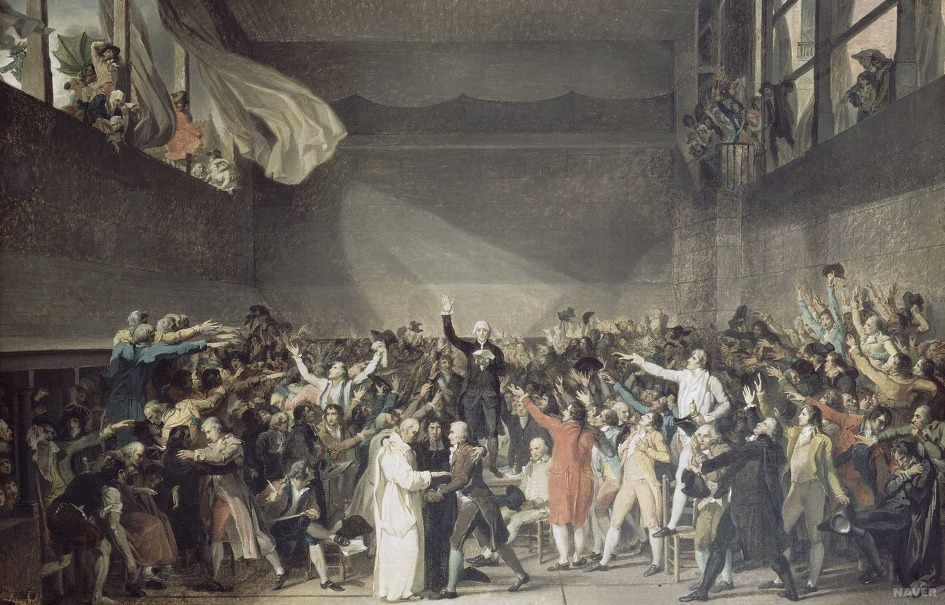 Le Serment du Jeu de paume par Jacques-Louis David (1791).