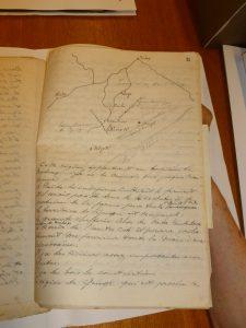 Croquis de Fernand Delmotte dans une lettre