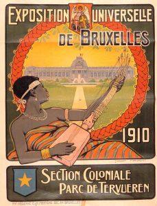Musée Royal de Tervuren. Exposition universelle 1910. Wikipédia. https://fr.wikipedia.org/wiki/Mus%C3%A9e_royal_de_l'Afrique_centrale#/media/File:KMMA_reclame.jpg. Domaine public