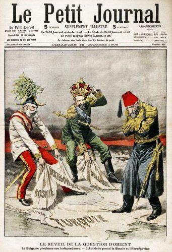 """Tous droits réservés. Une du Petit Journal, Dimanche 18 octobre 1908, """"Le Réveil de la Question d'Orient"""", Gallica."""