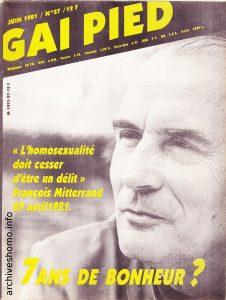 Couverture du journal Gai Pied Source : archiveshomo.info