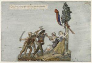 Lesueur Jean-Baptiste, Royalistes s'apprêtant à abattre un arbre de la liberté en Vendée, 1793-1794, Musée Carnavalet