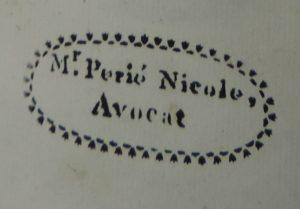 Tous droits réservés. Ex-libris de Nicolas-Joseph-Michel-Marie Périé, étudiant cadurcien inscrit en droit à Toulouse en 1792, avocat vers 1800; tampon apposé sur la page de titre d'un ouvrage conservé à la réserve de la Bibliothèque Patrimoniale et de Recherche du Grand Cahors.