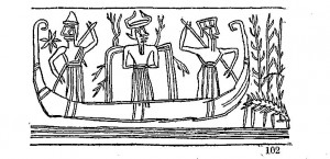 The boat journey of the god Ea (cylinder seal impression, ca. 2300–2150 BCE) Source: W. H. Ward, The Seal Cylinders of Western Asia, Washington, 1910, 40, fig. 102.
