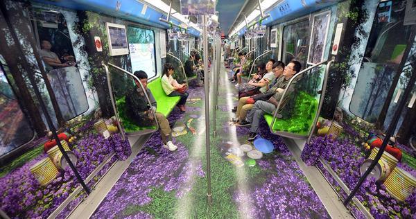 Un jardin en 3 D dans le métro de Nankin