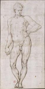 petrino_del_vaga_1501-1547_jeune_homme_nu_1522-1525_encre_sur_trace_pierre_noire_bnf_estampes