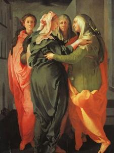 Jacopo da Pontormo, La Visitation, 1528-1529, huile sur bois, 202 x 156 cm, presbytère de Carmignano, Prato.