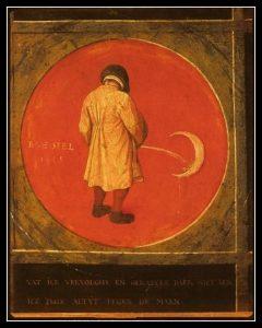 """Pieter Bruegel l'Ancien (circa 1525-1569), Douze proverbes flamands (détail) : """"Quelque but que je poursuive, je ne l'atteins jamais, je continue à pisser à la lune"""", vers 1558, huile sur panneau de chêne, 74,5 x 98,4 cm (pour l'ensemble des douze médaillons), ANvers, musée Mayer Van den Bergh"""