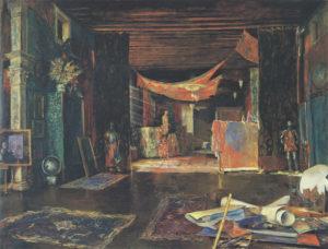 Intérieur de l'atelier de Fortuny, peint par lui-même, non daté, détrempe sur toile, 120 x 132 cm, Venise, Musée Fortuny