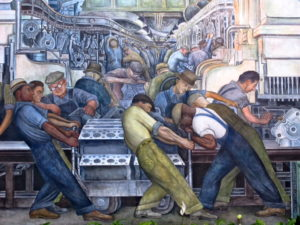 Diego RIVERA (1886-1957), L'industrie de Détroit ou L'homme et la Machine (détail), 1932-1933, Fresque, 14,54 x 5,94 m au plus haut, Etats-Unis, Détroit, Détroit Institute of Arts