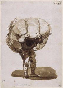 Francisco de Goya y Lucientes (1746-1828), Le portefaix, vers 1812-1823, encre sépia sur papier vergé blanc, 20,3 x 14,3 cm, Paris, Louvre