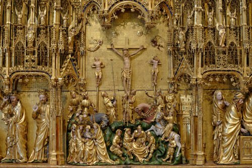 Jacques de Baerze, Retable de la crucifixion,1393, bois peint et doré, Hauteur : 167 cm ; Largeur de la partie centrale : 252 cm ; Largeur de chaque volet : 125 cm, Dijon, Musée des Beaux-Arts (MBA)