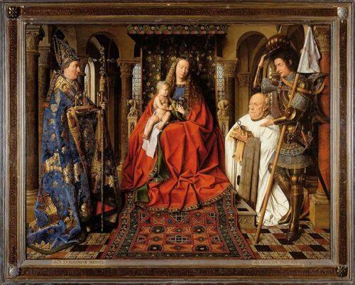 Jan van Eyck, La Vierge au chanoine van der Paele,  1436, huile sur panneau de bois, 122 x 157 cm,  Bruges, Musée Groeninge.