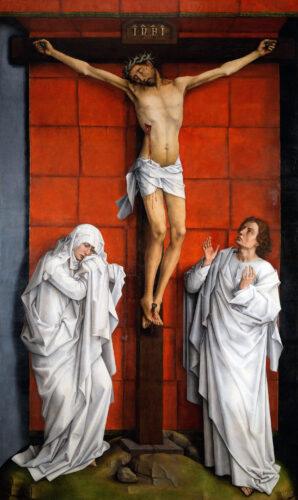 Rogier VAN DER WEYDEN, Crucifixion, vers 1460, huile sur panneau de chêne, 325 x 192 cm, Escurial, monastère San-Lorenzo