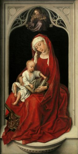 Rogier VAN DER WEYDEN, La Vierge Durán , v.1435-1438, huile sur bois, 100 × 52 cm, Madrid, musée du Prado.