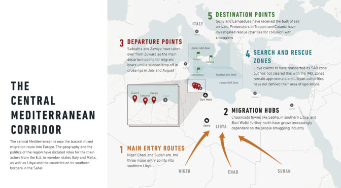 Daniel Howden, Central Mediterranean: European Priorities, Libyan Realities, newsdeeply.com, oct. 2017