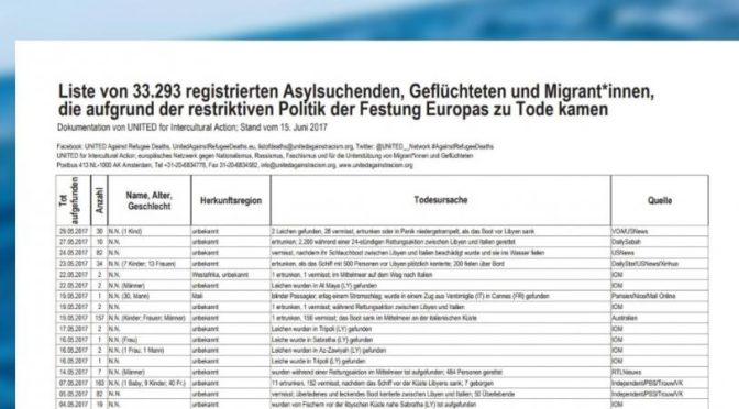 Réfugiés: une liste de 33 000 morts publiée par un journal allemand , lexpress.fr , 11/11/2017