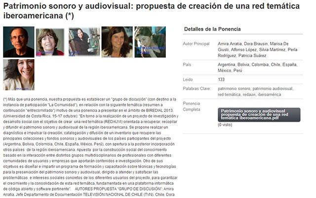 Patrimonio sonoro y audiovisual - propuesta de creación de una red temática iberoamericana