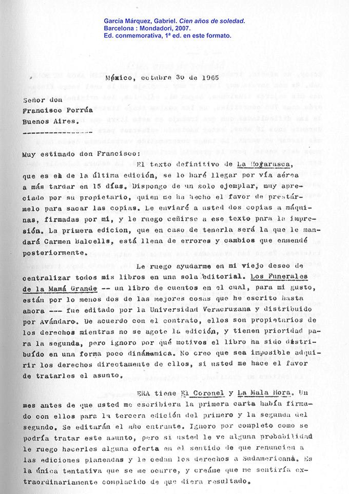 carta de Gabriel García Márquez