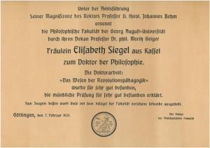 Promotionsurkunde Elisabeth Siegels (NLA OS Slg 66 Akz. 2012 055 Nr. 1M Bl. 23).