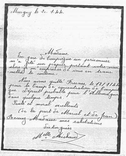 Le dernier message de Cavaillès à sa famille, 20 janvier 1944.