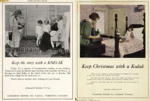 """""""Keep Christmas with a Kodak!"""" 1922, publicités issues de Canadian Kodak Corporate Archive and Heritage Collection, Ryerson University Library and Archives, 2005.001.1.1"""