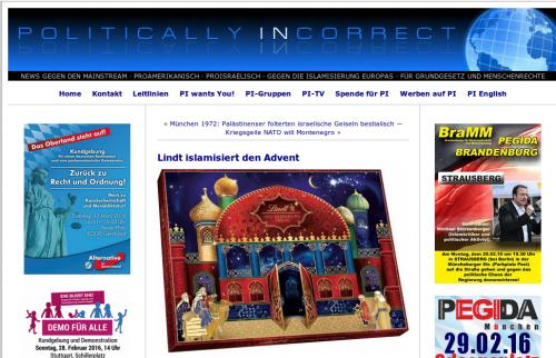 Nicht mal Halal-Produkte: Islamgegner sehen in einem Adventskalender Anzeichen der Islamisierung (Screenshot von Pi-News)
