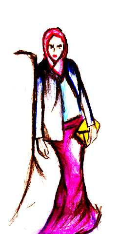 Sketch of a woman wearing hijab