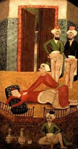 An Ottoman miniature from the book Sawaqub al-Manaquib depicting a young male being used by a group of men for anal sex. 19th century, author unknown.