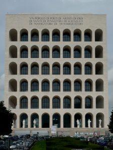 Rome - Palais de la civilisation italienne (Palazzo della Civiltà Italiana). Colisée carré par Giovanni Guerrini, Ernesto Lapadula et Mario Romano. Photographe : William Chevillon.