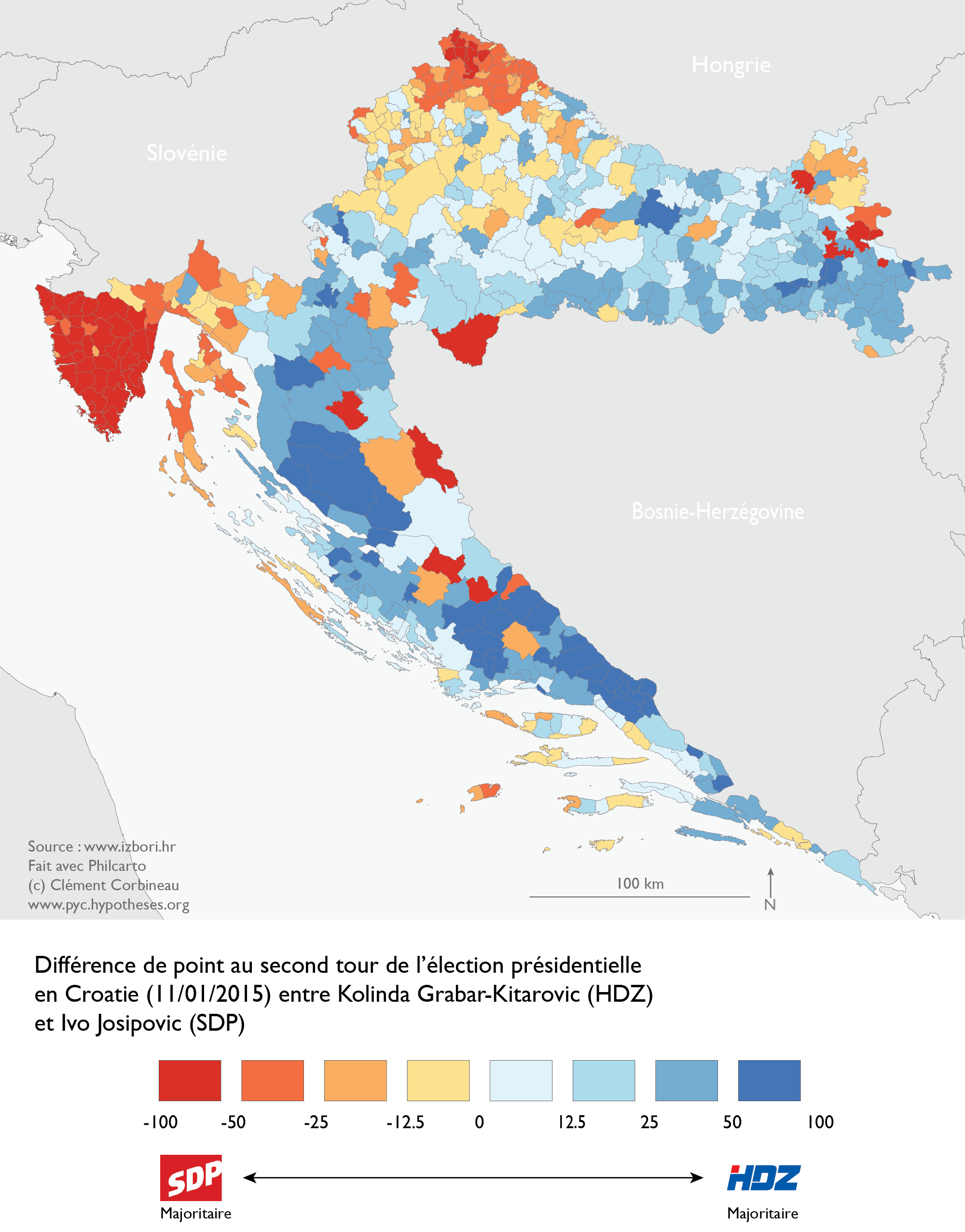 Map Results Croatian Presidential Election 2014