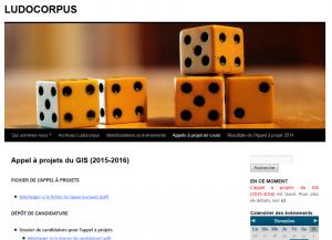 Appel à projets du GIS (2015-2016)  LUDOCORPUS