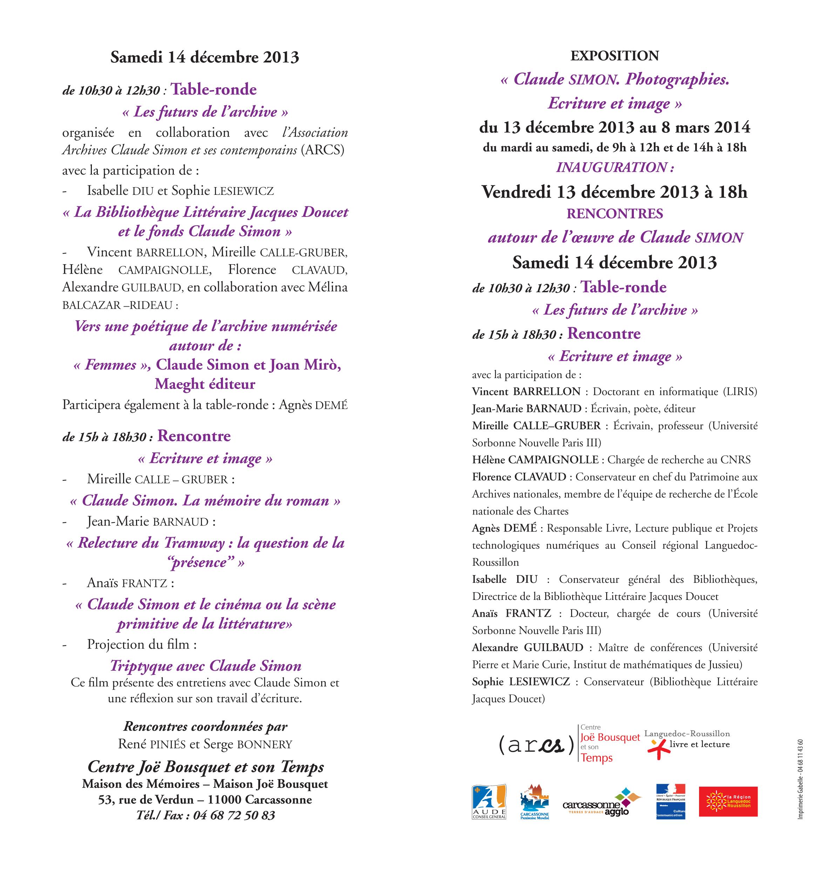 Exposition au Centre Joë Bousquet : Claude SIMON. Photographies. Écriture et image
