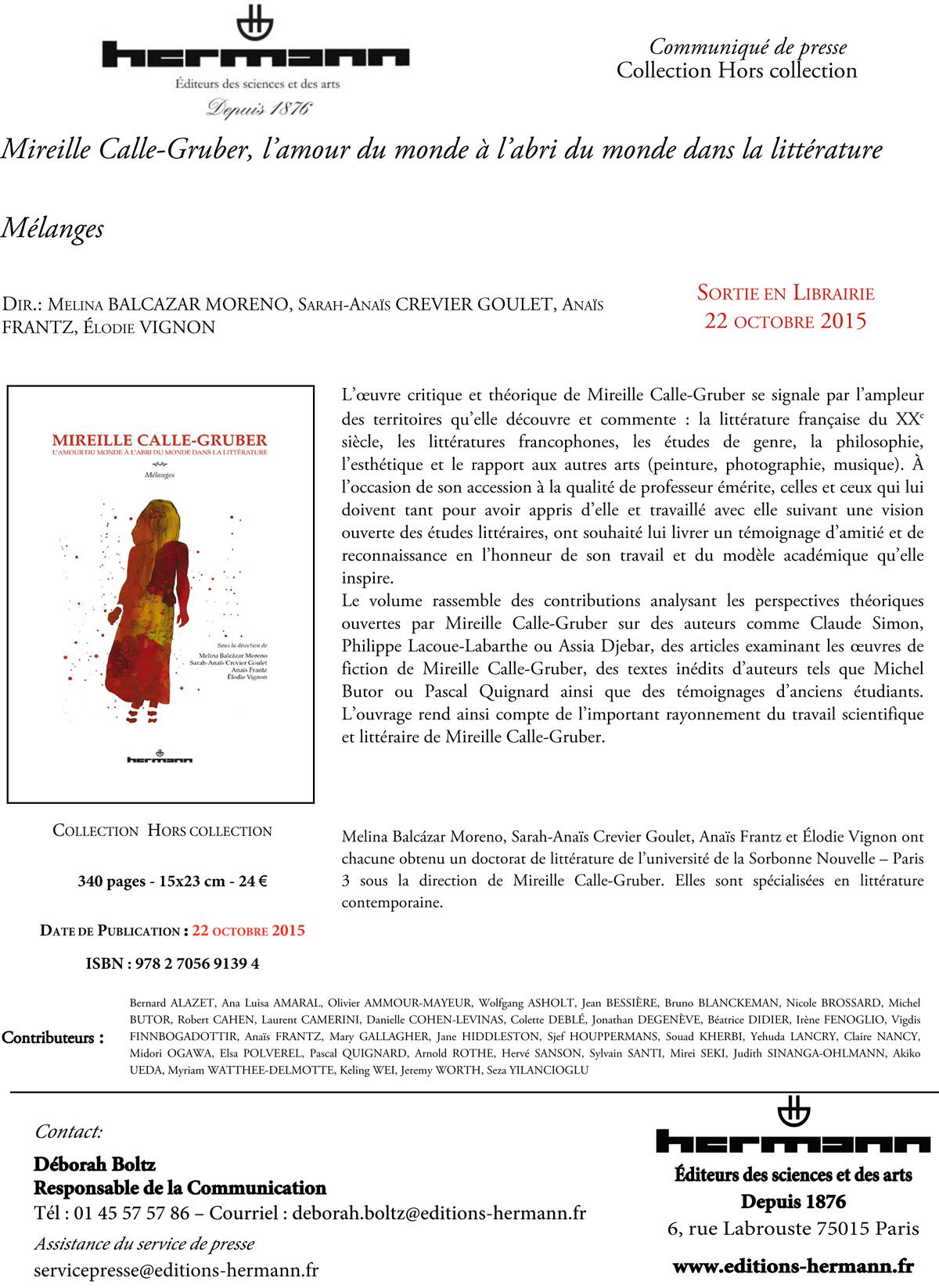 Mireille Calle-Gruber, l'amour du monde à l'abri du monde dans la littérature