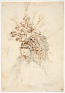 4. Stefano della Bella (1610-1664), Coiffure de théâtre, graphite, plume et encre brune, lavis d'encre de Chine, 300 x 208 mm, Paris : École nationale supérieure des Beaux-Arts ; n° d'inventaire : Mas 2260.