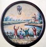 Bouton avec montgolfière, vers 1783.