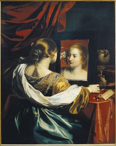 Nicolas Régnier, Vanité ou Jeune Femme à sa toilette, 1626, huile sur toile, 130 × 105,5 cm, Lyon, musée des Beaux-Arts.