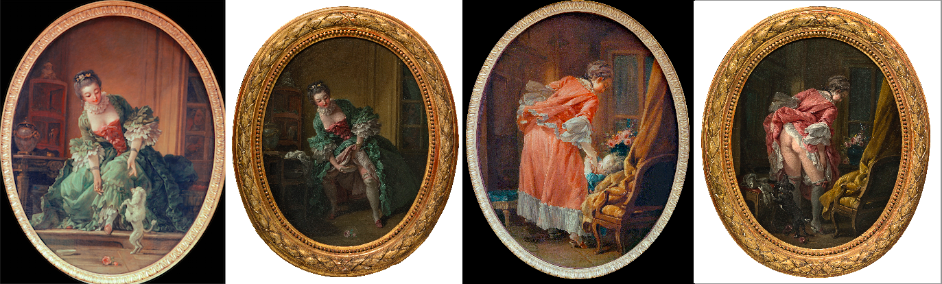 François Boucher, La Gimblette, L'Oeil indiscret, L'Enfant gâté, La Jupe relevée, 1742 ? ou années 1760 ?, huile sur toile, 52,5 × 41,5 cm, Karlsruhe, Staatliche Kunsthalle et coll. part.