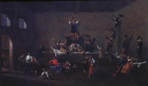 Roeland van Laer, Les Bentvueghels dans une auberge romaine, 1626 – 1628, huile sur toile, 88,5 x 147,5 cm, Rome, Museo di Rome.