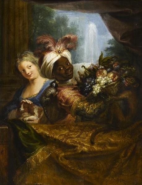 Antoine Coypel, Jeune noir tenant une corbeille de fruits et jeune fille caressant un chien, vers 1682, huile sur toile, H. 0,28 m ; L. 0,21 m, Paris, musée du Louv