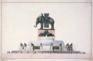 Jean-Antoine Alavoine Le Chevalier, Projet pour la fontaine de l'éléphant place de la Bastille, vers 1809-1819, aquarelle, 36 x 57 cm, Paris, musée Carnavalet. © Musée Carnavalet / Roger-Viollet