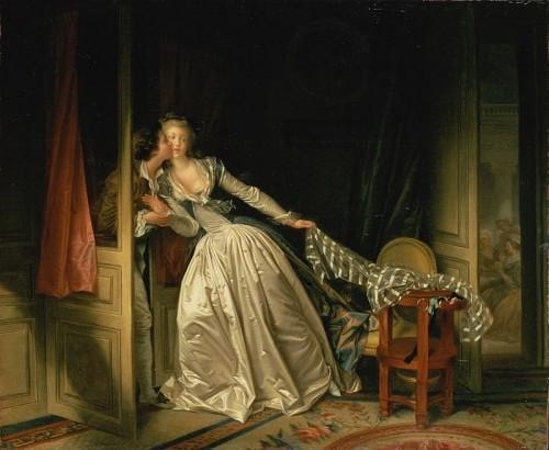 Jean-Honoré Fragonard, Le baiser volé, 1786, peinture à l'huile sur toile, 168,5 cm × 168,5 cm, Madrid: musée du Prado