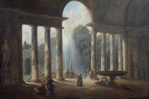 Hubert Robert, Vue intérieure de la loggia de la Villa Médicis, huile sur toile, 77 x 112 cm
