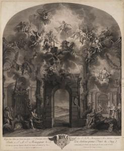 Louis Surugue d'après Charles Antoine Coypel, L'Apothéose d'Hercule et les chemins qui conduisent les héros à l'immortalité, 1723, gravure, 60,3 x 53,6 cm, Paris, Bibliothèque Nationale de France, Cabinet des Estampes.