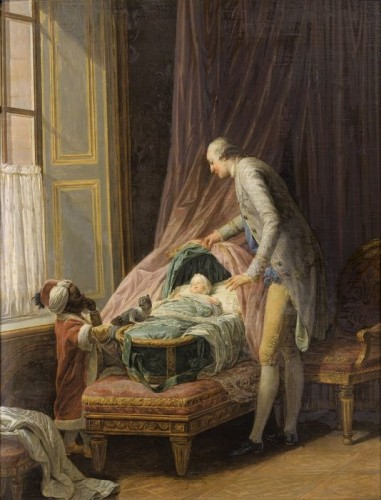 Nicolas-Bernard Lépicié, Louis-Philippe, duc de Valois, au berceau, 1774, huile sur bois, 54,5 x 41 cm.