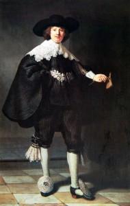 Rembrandt Harmenszoon van Rijn , portrait de Marten Soolmans, 1634, huile sur toile, 210 x 135 cm.