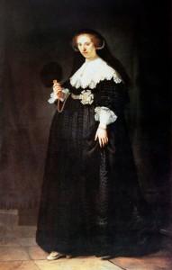 Rembrandt Harmenszoon van Rijn, Portrait de Oopjen Coppit, 1634, huile sur toile, 210 x 135 cm.