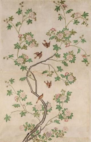 Atelier chinois, Panneau de papier peint, seconde moitié du XVIIIe siècle, Legs Jules Maciet, 1911. Inv. 17816 C, Paris, musée des Arts Décoratifs. © Les Arts Décoratifs, photo : Jean Tholance.