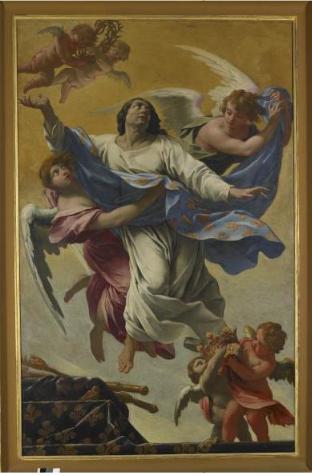 Simon Vouet, Saint Louis enlevé au ciel, 1642 - 1643, huile sur toile, 278 x 176, Rouen, musée des Beaux-Arts.