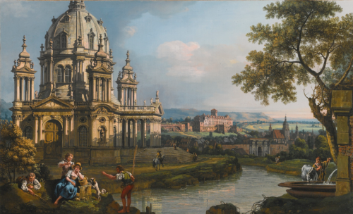 Bernardo Bellotto, Capriccio, vers 1765, huile sur toile, 48,4 x 78,2 cm.
